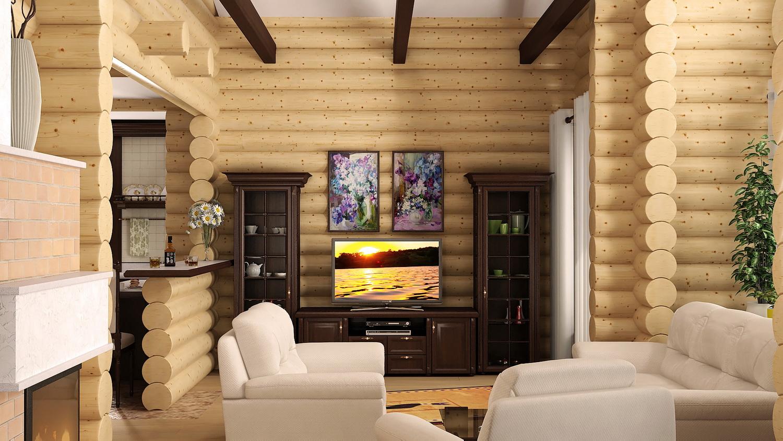 Фото интерьера домов из бревна